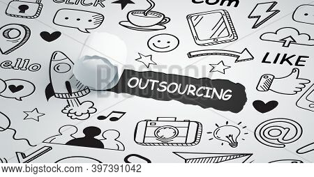 Business, Technology, Internet And Network Concept. Outsourcing Human Resources.3d Illustration