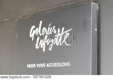 Bordeaux , Aquitaine  France - 11 21 2020 : Galeries Lafayette Logo And Text Sign Upmarket French De
