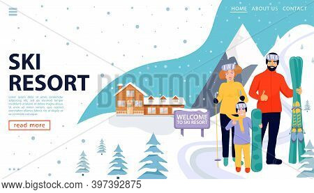 Ski Resort Web Page Concept With Wooden House And Happy Family With Snowboards And Skis On Snowy Lan