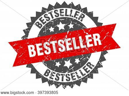 Bestseller Grunge Stamp With Red Band. Bestseller