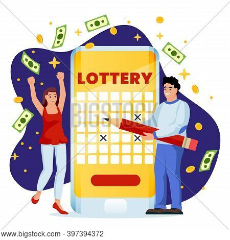 Couple Win Money In Online Lottery. Vector Flat Cartoon Illustration. Casino Or Gambling Games Conce