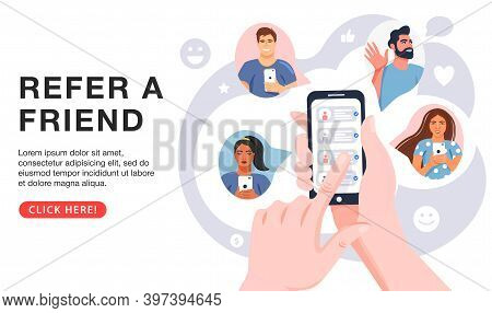 Refer A Friend Concept. Hands Holding Phone With Contacts Of Friends. Business Partnership Strategy