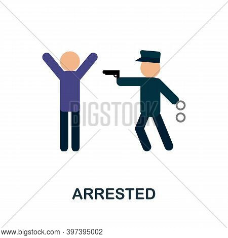Arrested Flat Icon. Simple Element From Protest Collection. Creative Arrested Icon For Web Design, T