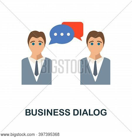 Business Dialog Flat Icon From Reputation Management Collection. Simple Line Element Business Dialog