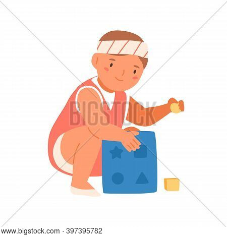 Baby Boy Or Girl Playing Educational Toy. Little Cute Toddler With Constructor. Happy Infant With De