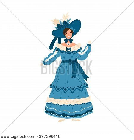 Young Woman Wearing Elegant Retro Dress And Hat Decorated With Bows And Ruffles. Female Character In