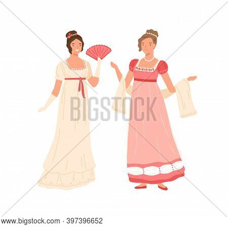 Young Women Wearing Retro Dresses In 19th Century Style. Beautiful Female Characters In Elegant Clot
