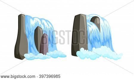 Waterfall Cascade Streaming Down With Foam. Set Of Fairytale Cascade Of Blue Water Isolated In White