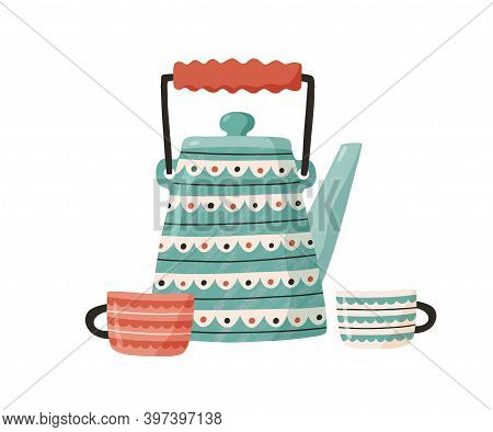 Cute Ceramic Teapot With Cups. Painted Kettle Isolated On White Background. Kitchen Crockery. Tea Pa