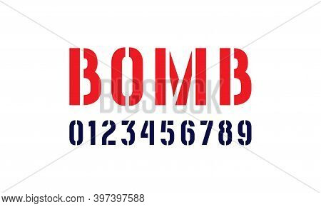 Stencil-plate Sans Serif Numbers In Military Style. Isolated On White Background