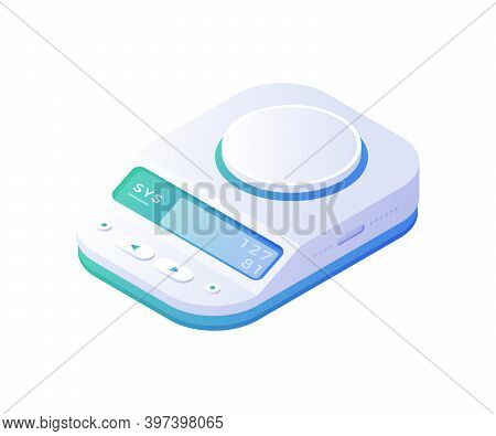 Accurate Electronic Scales Isometric Vector. Measured White Device With High Sensitivity Digital Blu