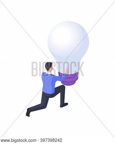Man Twists Light Bulb Isometric Illustration. Male Character Twirl Large Bulb Tensely.