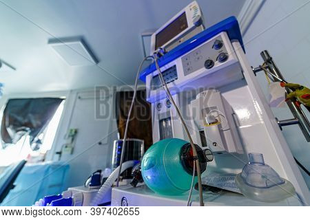 Mechanical Ventilation Equipment. Ventilation Of The Lungs With Oxygen. Medical Equipment, Apparatus