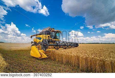 Agriculture Machine Harvesting Crop In Fields. Special Technic In Action. Agricultural Technic In Fi