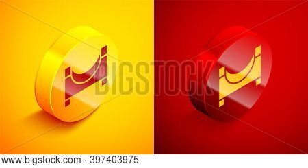 Isometric Skate Park Icon Isolated On Orange And Red Background. Set Of Ramp, Roller, Stairs For A S