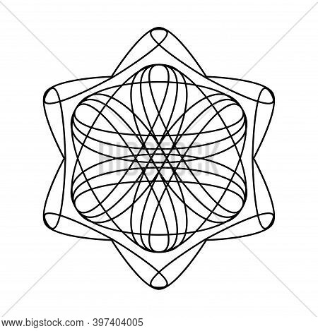 Geometric Hexagram Star Circle Vector Mandala Coloring Book