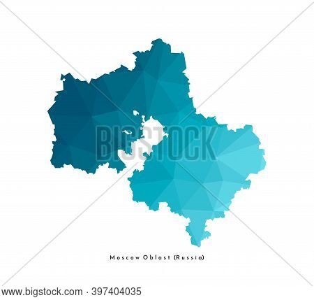 Vector Isolated Illustration Icon With Simplified Blue Silhouette Of Moscow Oblast Map (federal Subj