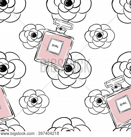Perfume Bottles With Camellia Flowers Background. Fragrance Bottle Seamless Pattern. Hand Drawn Perf