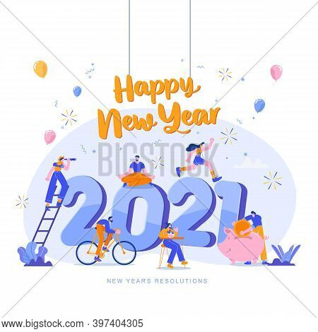 Happy New Year 2021. Goals And Resolutions 2021 Concept Illustration. Tiny People Having Fun With Th