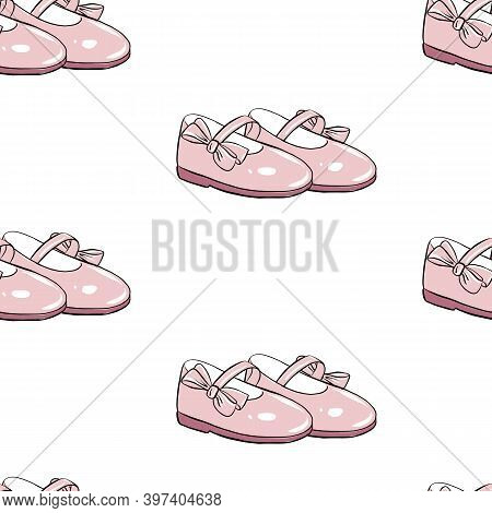 Cute Little Girl Shoes With Pink Bows Seamless Pattern.  First Baby Shoes Or Baby Steps.