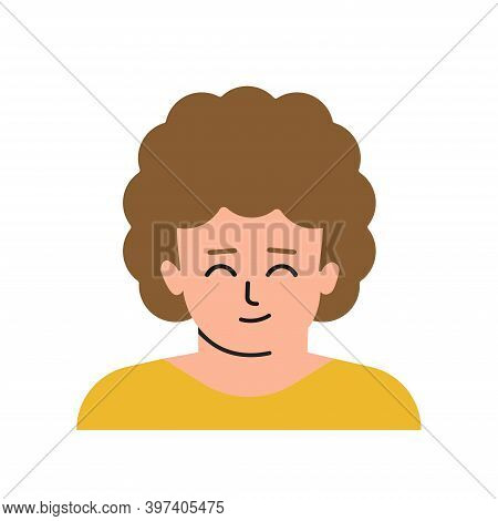 Vector Flat Isolated Concept With Portrait Of Cartoon Character. Face Of Child. Avatar Of Preschool