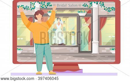 Happy Young Man Standing Near Big Monitor With Bridal Salon Storefront. Mannequin In Elegant Bridal