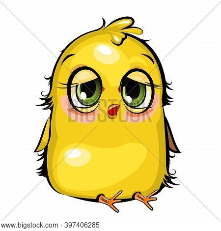 Sleepy Chick. Funny Chick. Wants To Sleep. Cute And Funny Baby Bird. The Isolated Object On A White