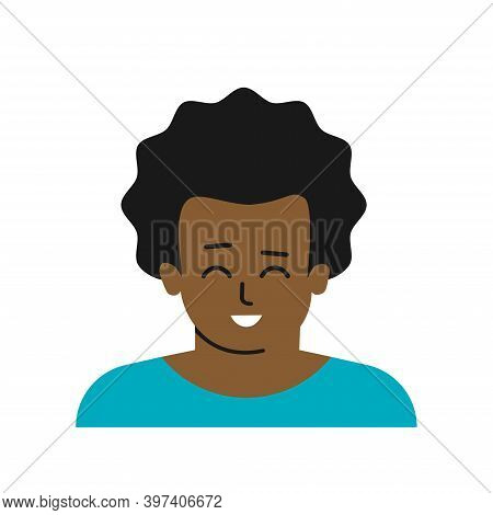 Vector Flat Isolated Concept With Avatar Of Cartoon Character. Close Up Portrait Of African American