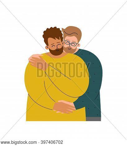 Vector Flat Isolated Concept With Homosexual Cartoon Family. Caucasian Guy Hugs His Boyfriend - Hisp