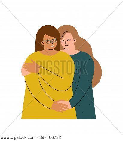 Vector Isolated Concept With Homosexual Female Cartoon Couple.  Caucasian Woman Hugs Her Hispanic Gi