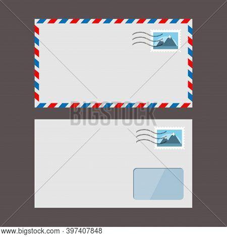 Set Of Vector Paper Envelopes. Postal Envelope With Stamp