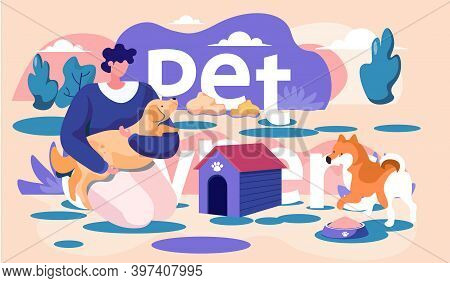 Young Man Is Walking With Animal On The Street. Dog Is Standing Near A Bowl Of Food. Trainer Holding