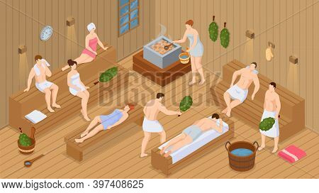 Isometric Sauna Or Spa. Collection Of People Bathing In Sauna Or Banya Full Of Steam. Set Of Happy M