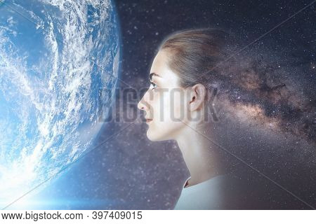 Futuristic Goal And Solution Thinking Concept, Double Exposure Overlay Images Of Attractive Woman Po