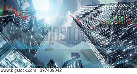 Business Property Development And Investment Concept, Double Exposure Of Business Team While Meeting