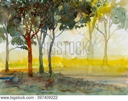 Abstract Paintings Watercolor Landscape Original Of Ecology Forest And Meadow Countryside. Hand Pain
