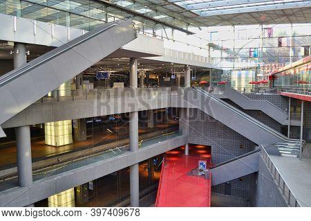 Antwerp, Belgium, June 2011: Antwerp Central Station Interior With Escalators And Train Platforms.