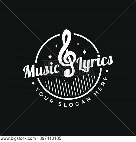 Music Lyrics Logo. Logo Mark For Concert, Composer, Orchestra, Musician. Vector Illustration.
