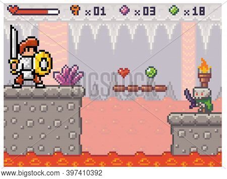 Pixel Game Interface. A Knight In Armor Walks Along A Platform Above The Lava. Hero Is Collecting It