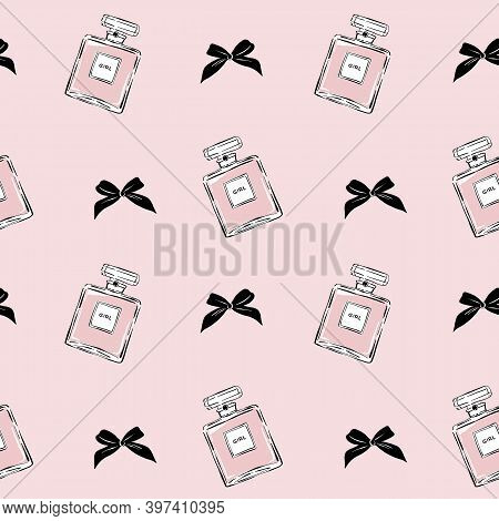 Seamless Glamour Pattern With Cologne Perfume And Bows In Hand Drawn Style. Fragrance Bottle Seamles