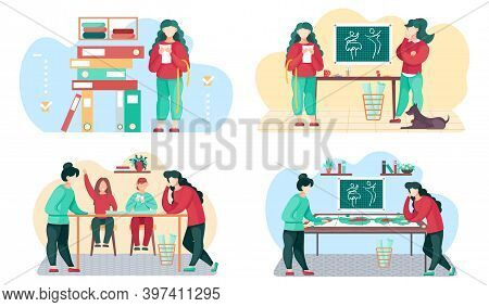 A Set Of Illustrations On The Topic Of Discussion Of Clothing Design. The Seamstresses Take Measurem