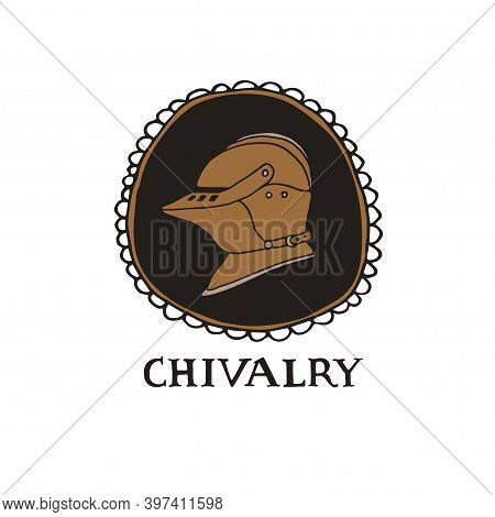 Medieval Knight Helmet And Hand Drawn Lettering In Decorative Frame. Coat Of Arms Heraldic Equipment
