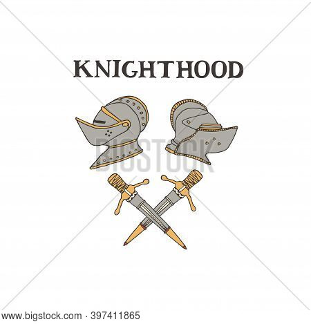 Medieval Knight Helmets And Swords. Coat Of Arms Heraldic Equipment. Crusaders Templar Armour Vector