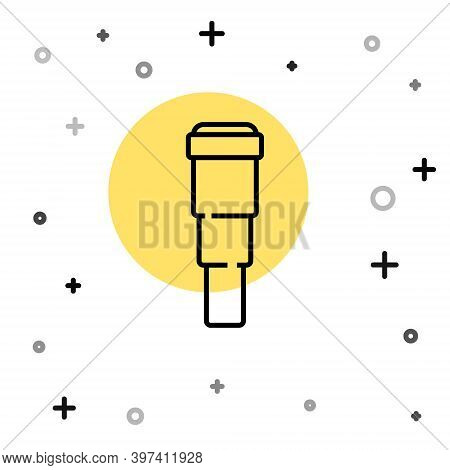 Black Line Spyglass Telescope Lens Icon Isolated On White Background. Sailor Spyglass. Random Dynami