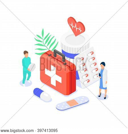 Pharmacy Concept. Pharmacists Pick Medicines And Other Goods From The Pharmacy For Ordering.