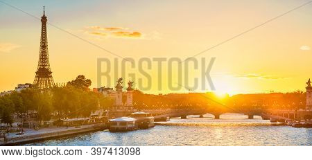 Paris Panorama Beautiful Sunset With Eiffel Tower And Seine River In Paris, France
