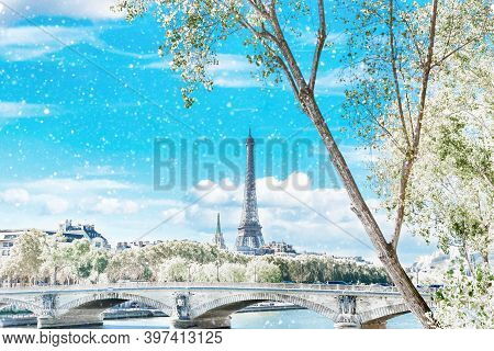Winter In Paris. Eiffel Tower And Bridge On Seine And Trees In White Snow. Christmas Time, Paris, Fr