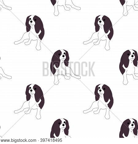 Repeat Seamless Pattern With Flat Style Cute Charles King Cavalier Spaniel Dogs On White Background.