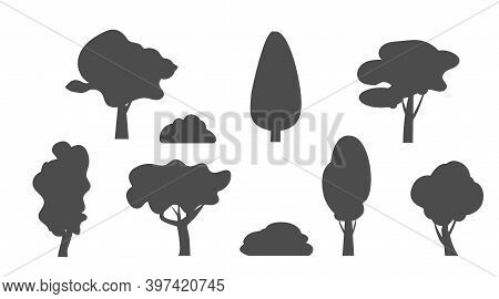 Collection Of Cartoon Trees Island With Leaves. Orchard, Fruit Plants, Shrubs Bushes. Forest Line Pi