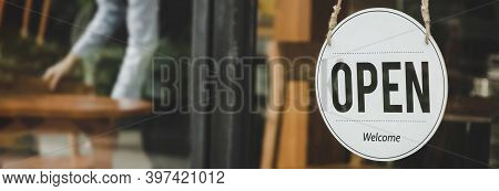Panoramic Wide Banner. Coffee Cafe Shop Text On Vintage Sign Board Hanging On Glass Door In Cafe Sho